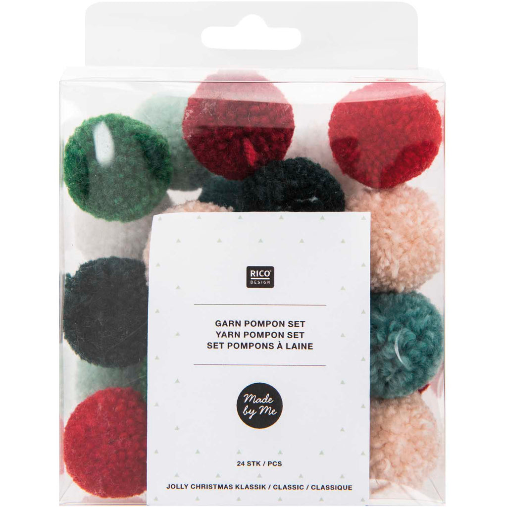 Pack of Mini Yarn Pom-poms - Christmas Mix