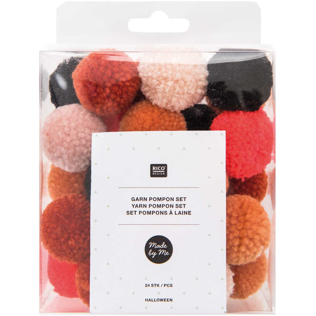 Pack of Mini Yarn Pom-poms - Halloween Mix
