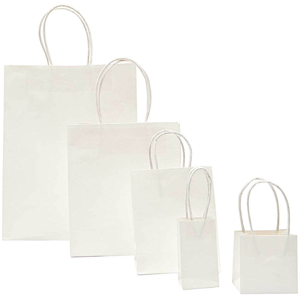 Little Paper Gift Bags in Kraft and White