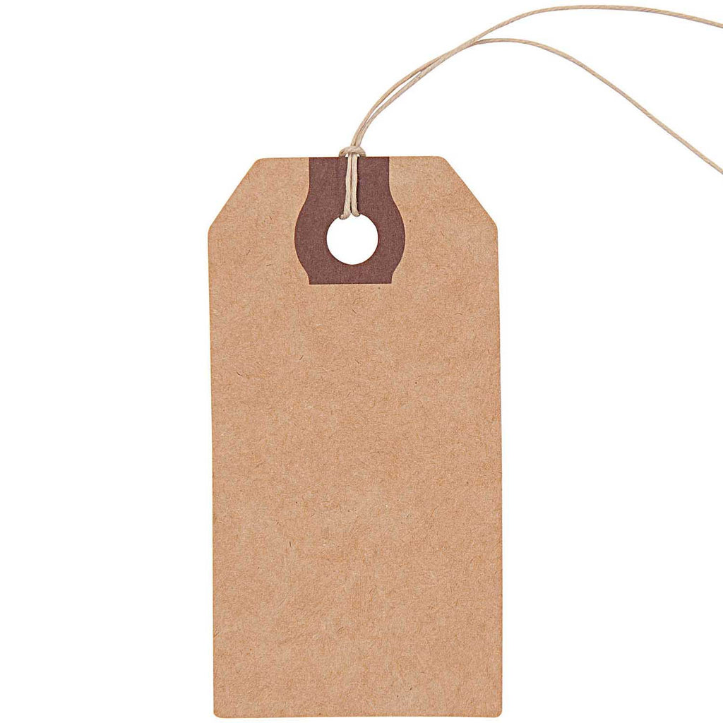 Pack of 9 Traditional Kraft Tags with Strings