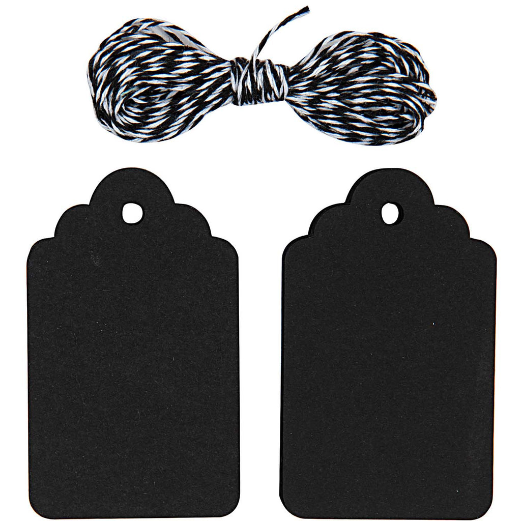 Gift Tag Pack With String - Black