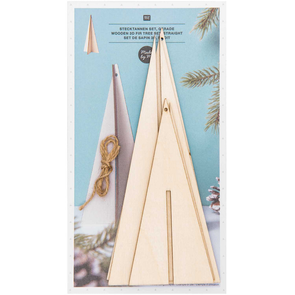 Wooden 3D Fir Trees - 2 Pieces