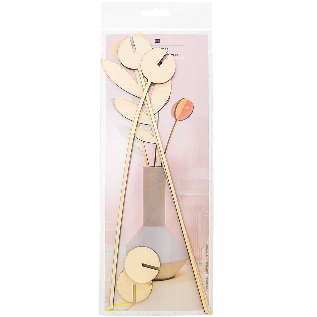 Wooden 3D Flower Heads - 3 Pieces