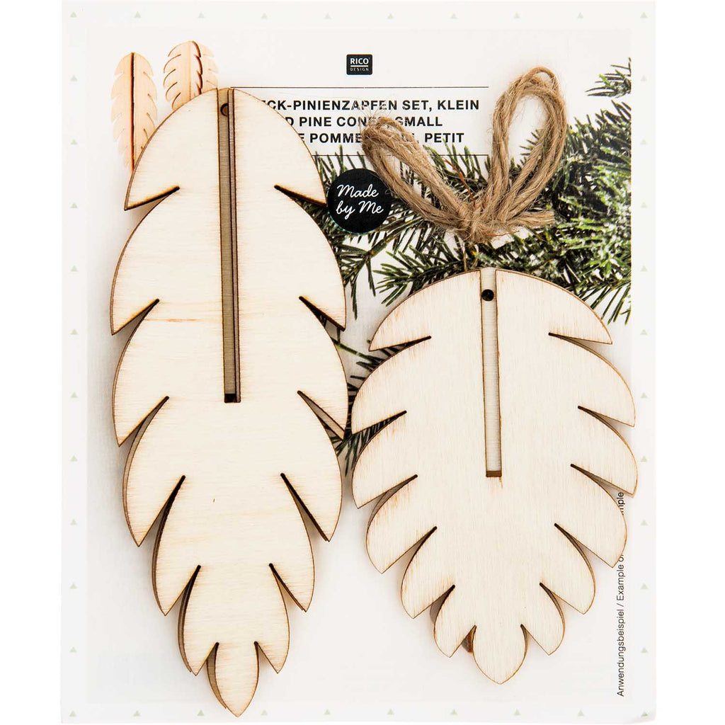 Wooden 3D Pinecone Decorations - 3 Pieces