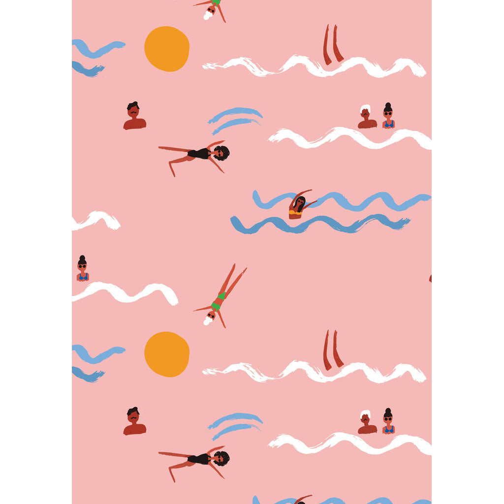 Swimmers Wrapping Paper Sheet