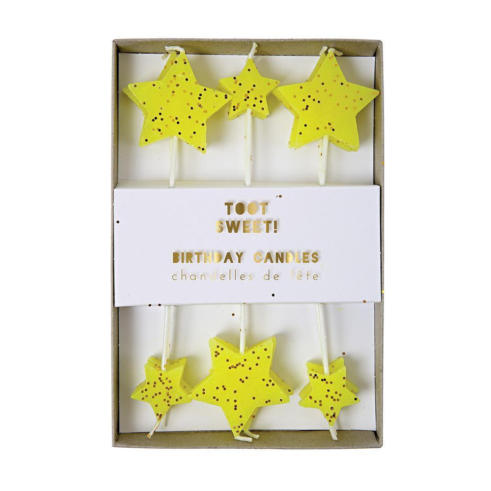 Neon Yellow Star Candles Pack of 12