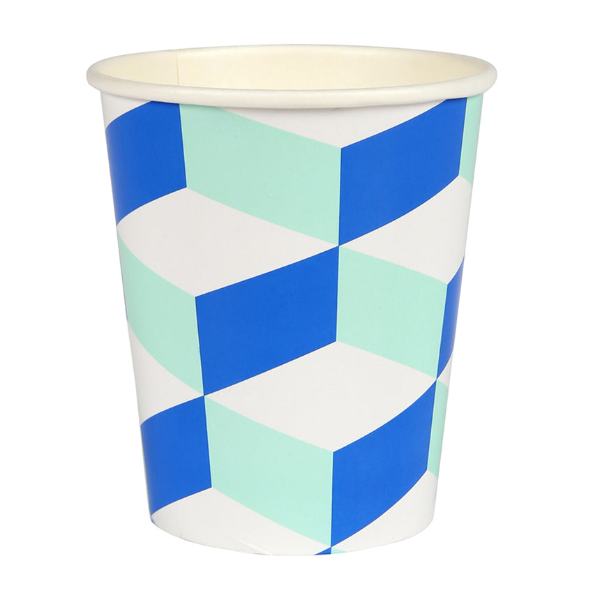 Blue and Mint Cubic Paper Party Cups