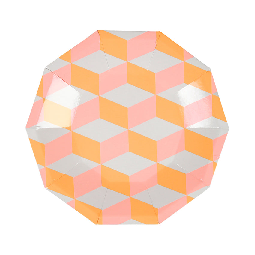 Pink and Orange Cubic Paper Party Plates
