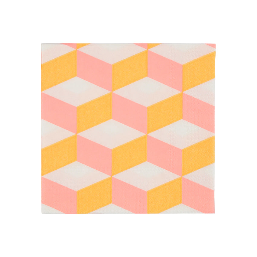 Pink and Orange Cubic Paper Party Napkins