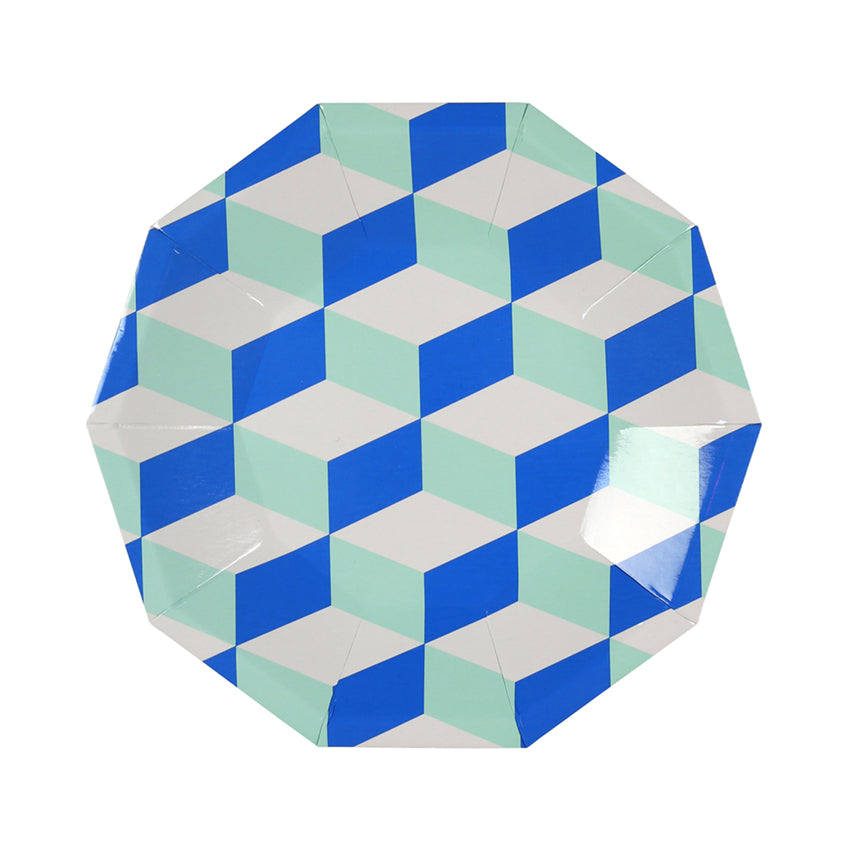 Blue and Mint Cubic Paper Party Plates