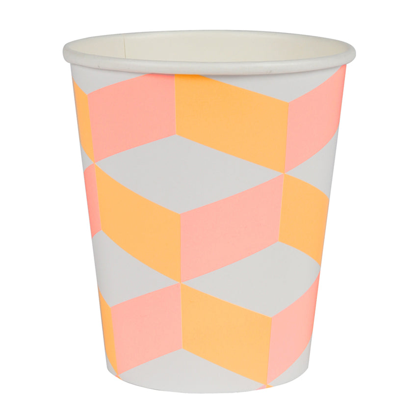 Pink and Orange Cubic Paper Party Cups