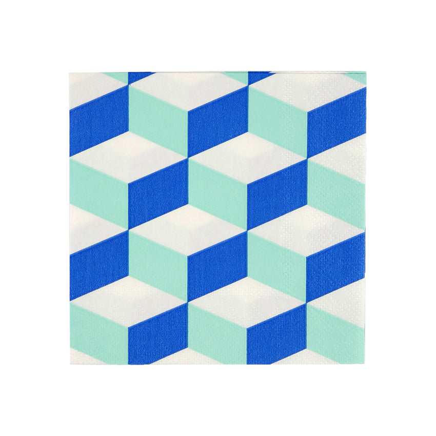 Blue and Mint Cubic Paper Party Napkins
