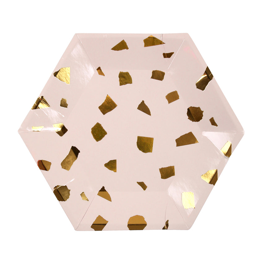 Blush and Gold Terrazzo Paper Party Plates