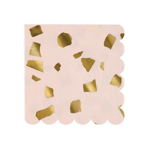 Blush and Pink Terrazzo Paper Party Napkins