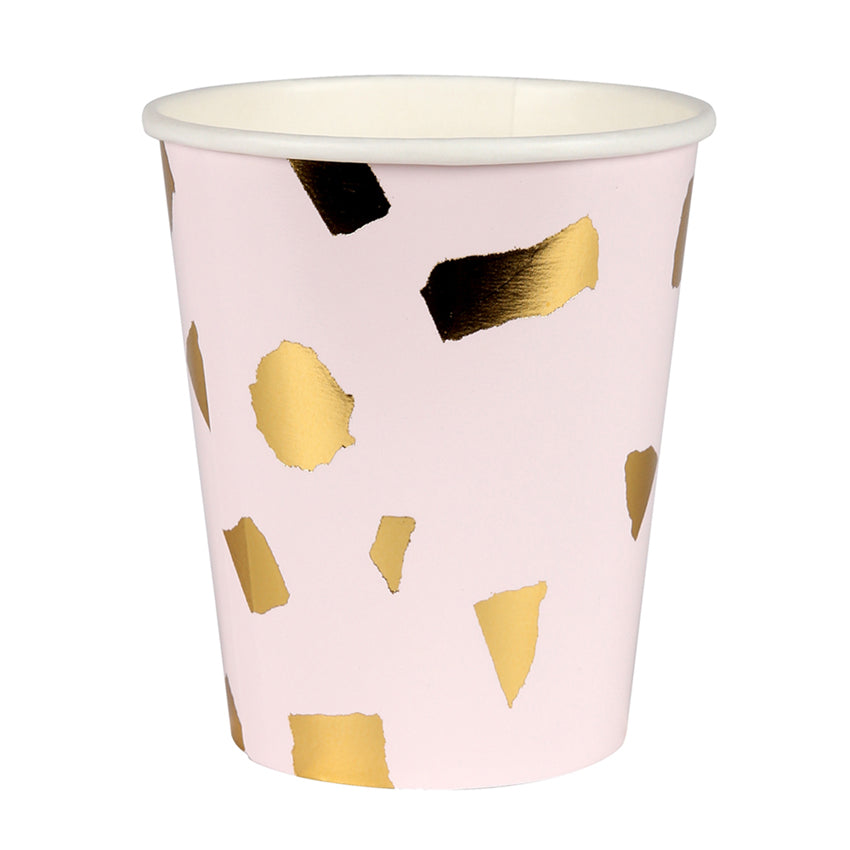 Blush and Gold Terrazzo Paper Party Cups
