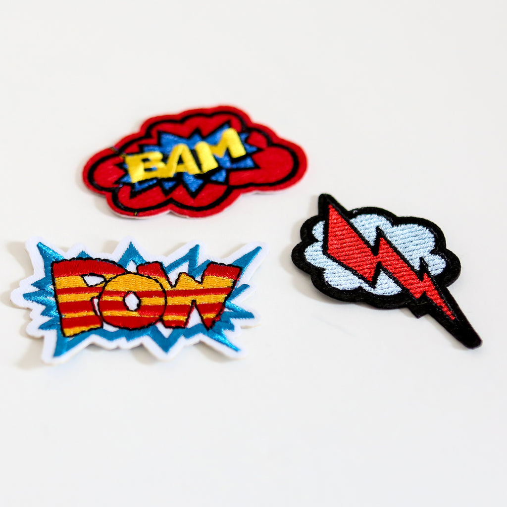Comic Book Super Hero Iron On Patch Set