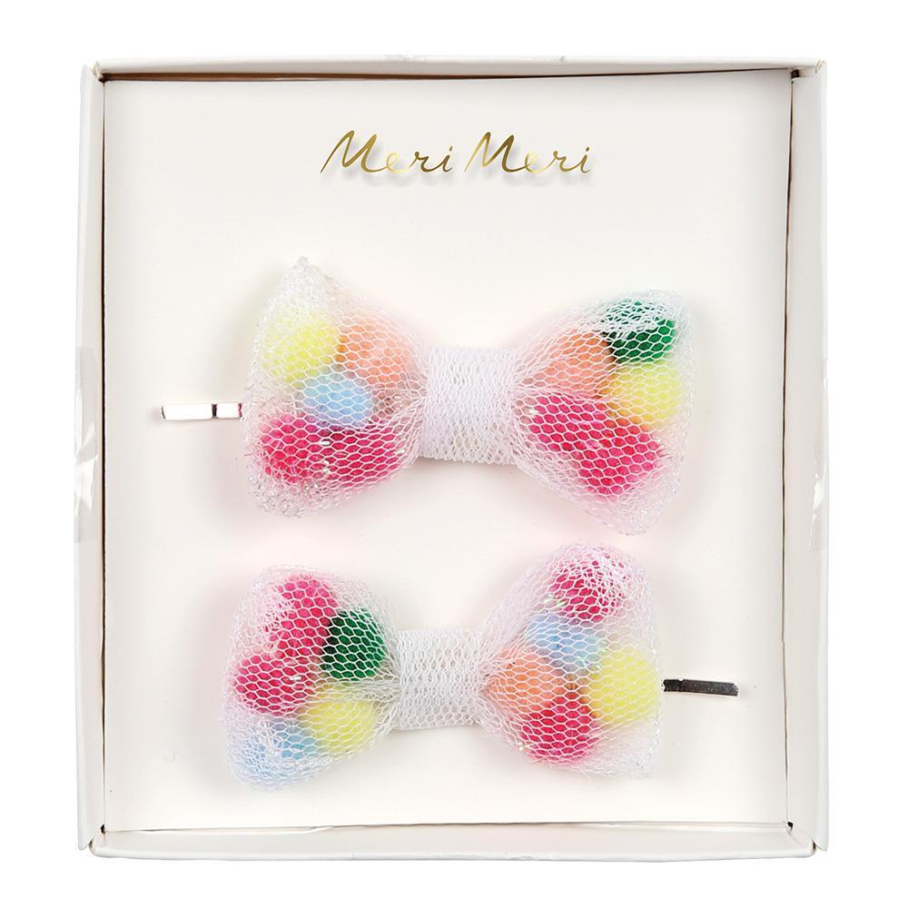 Pompom Net Bow Hair Slides