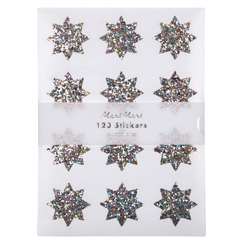 Silver Sparkle Star Glitter Christmas Stickers