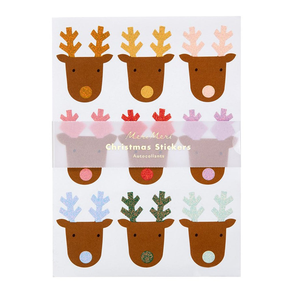 Rainbow Glitter Reindeer Christmas Stickers