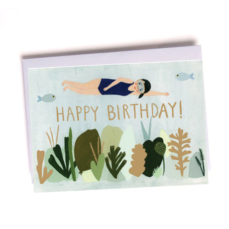 Birthday Swimmer Greetings Card