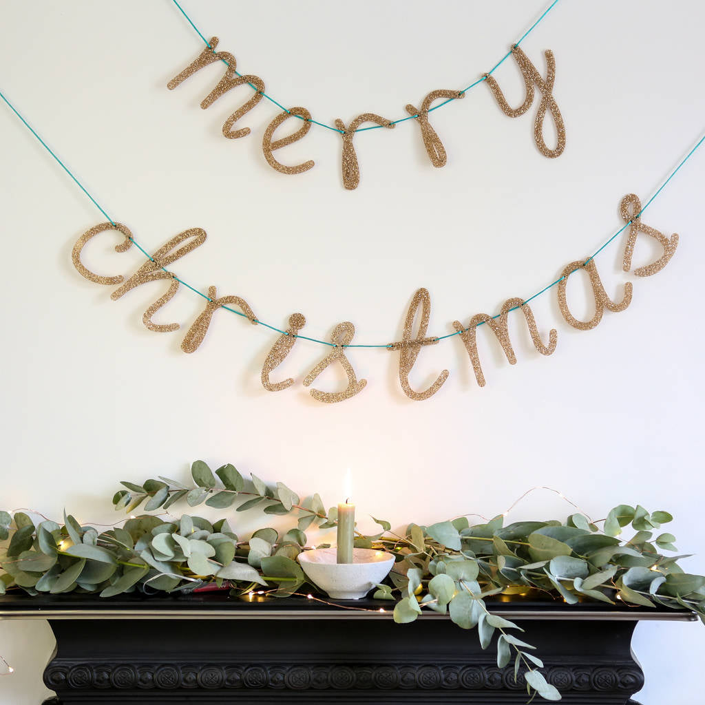 Large Glittery Acrylic 'Merry Christmas' Banner