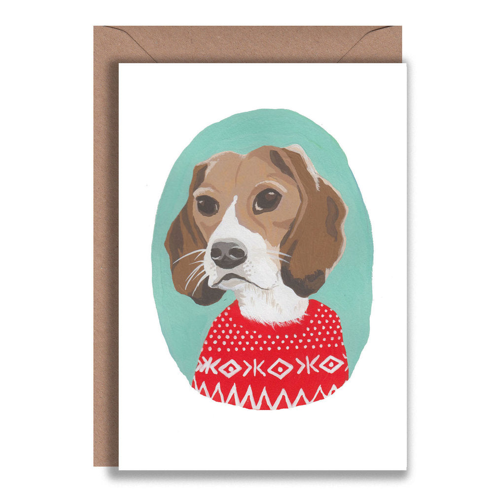 Beagle Christmas Jumper Card