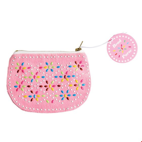Retro Beaded Coin Purse - Pink