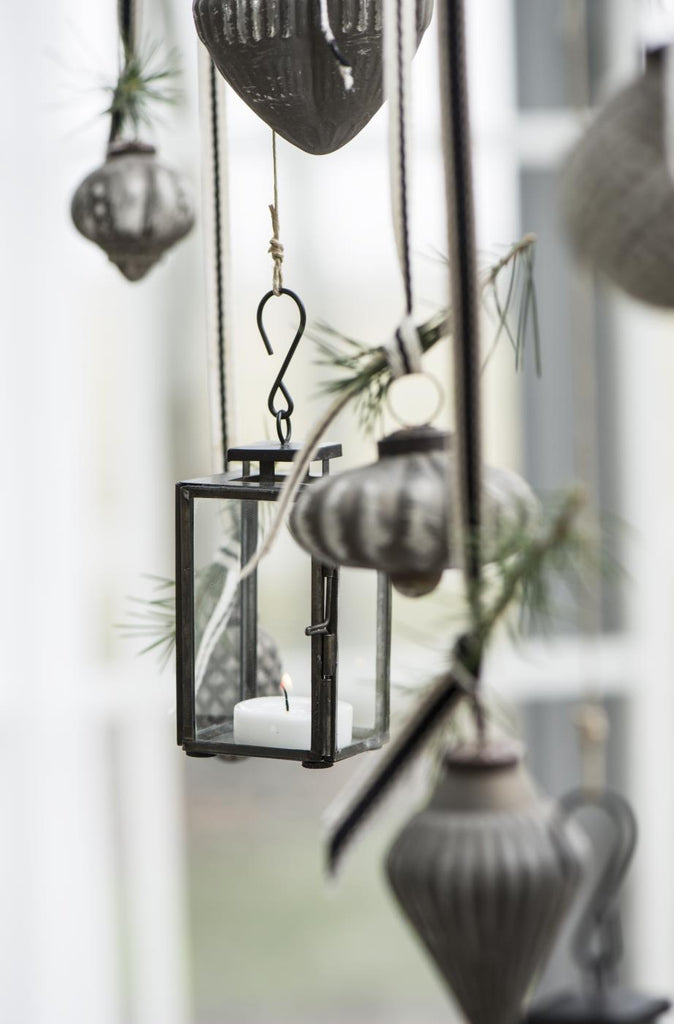 Mini Black Metal and Glass Candle Lantern