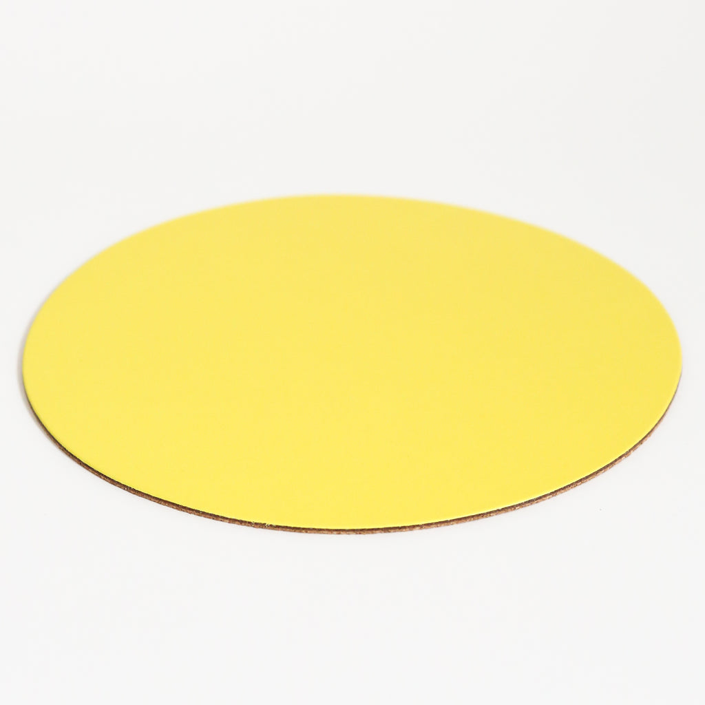 Round Leather Placemat - Yellow