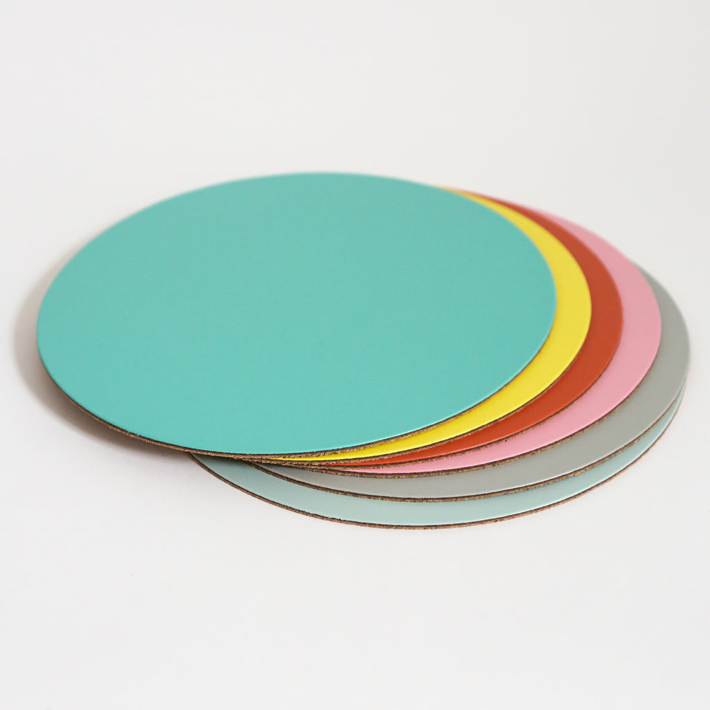 Round Leather Placemat - Ice Blue
