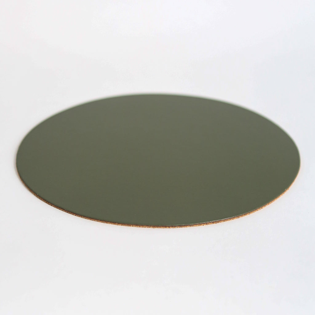 Round Leather Placemat - Olive