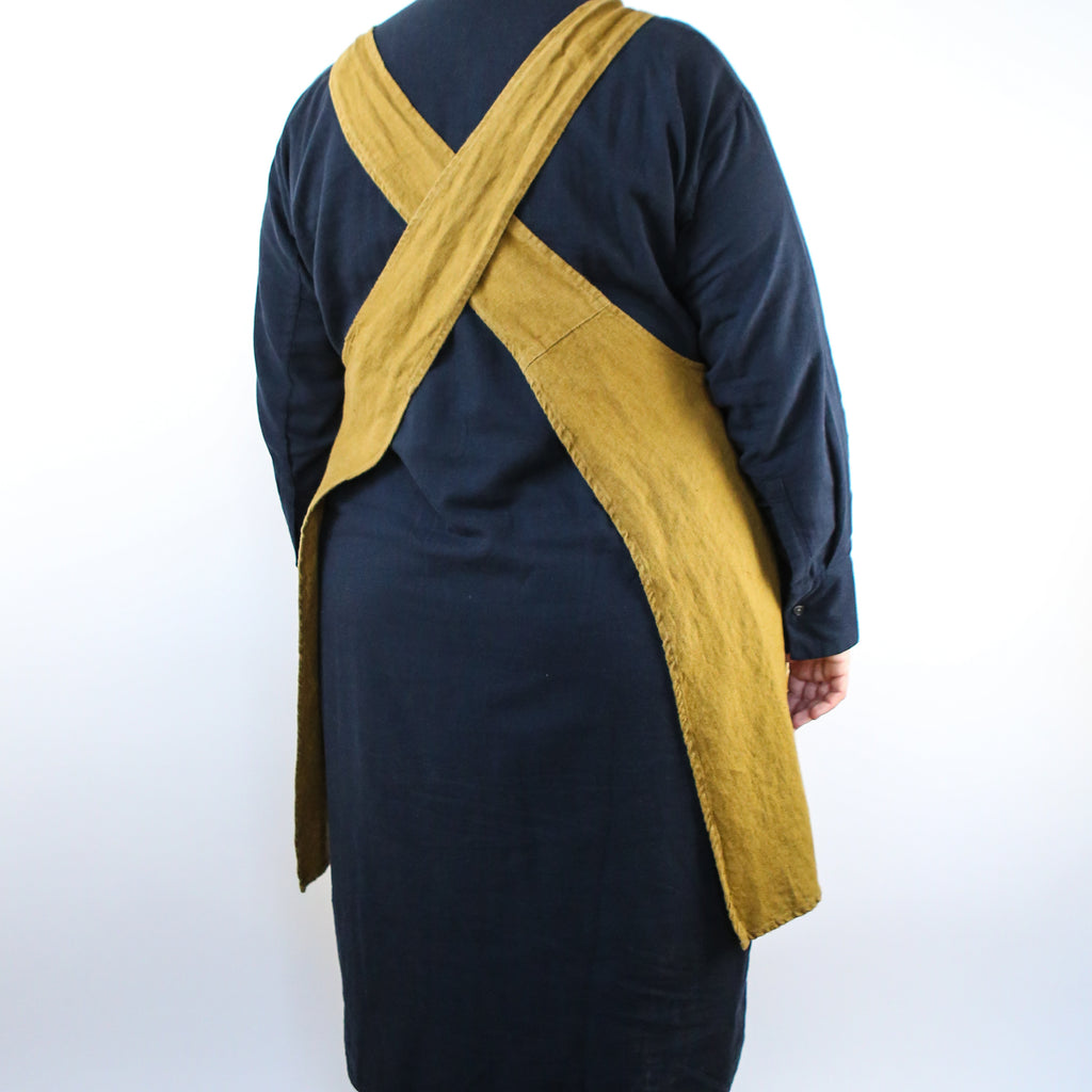 Washed Linen Japanese Style Apron - Ochre