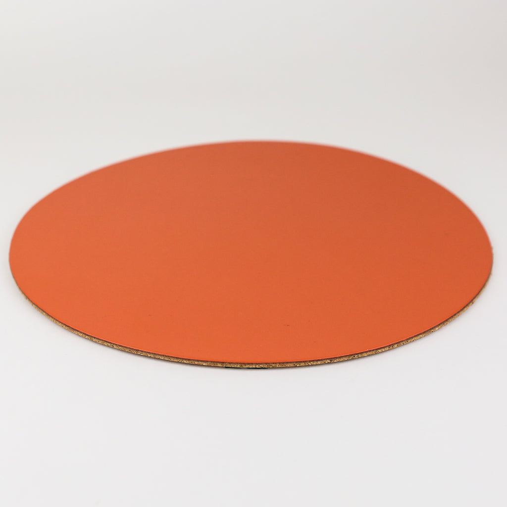 Round Leather Placemat - Burnt Orange