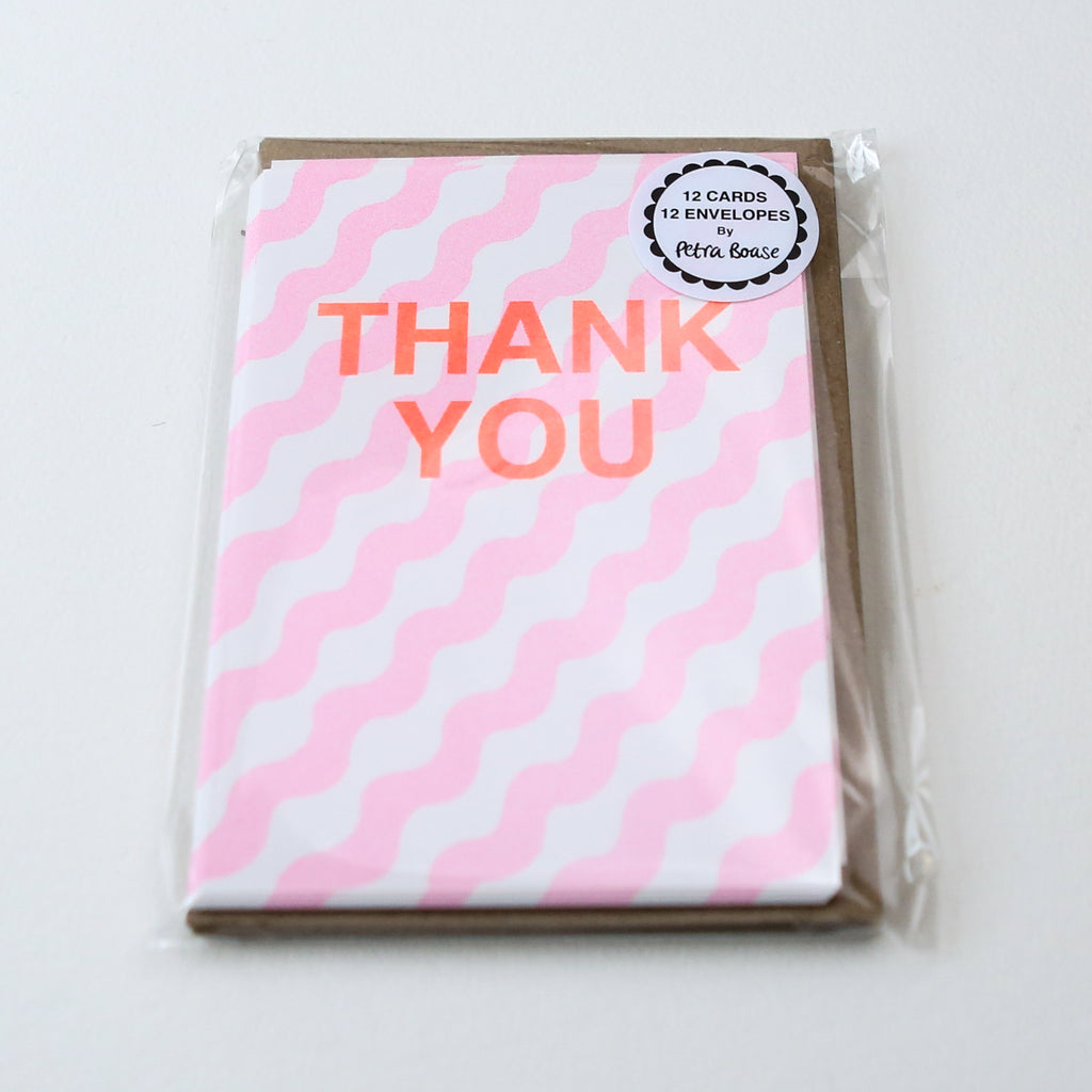 Pack of 12 Thank You Cards - Peach Wiggle