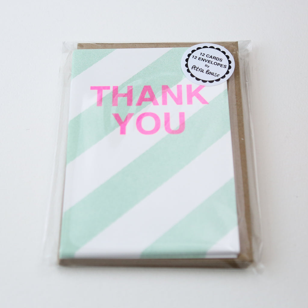 Pack of 12 Thank You Cards - Pale Green Diagonal Stripes