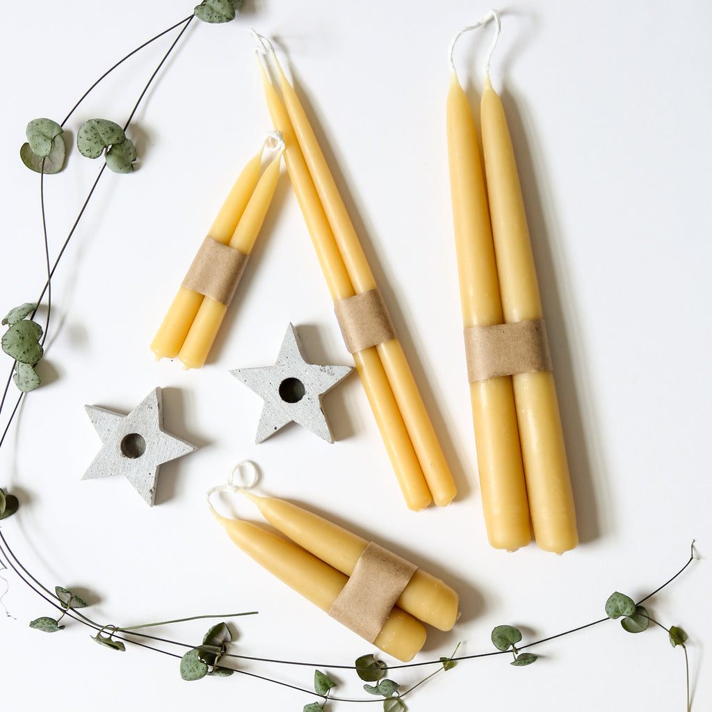 23cm Hand Dipped Beeswax Candles - Pair