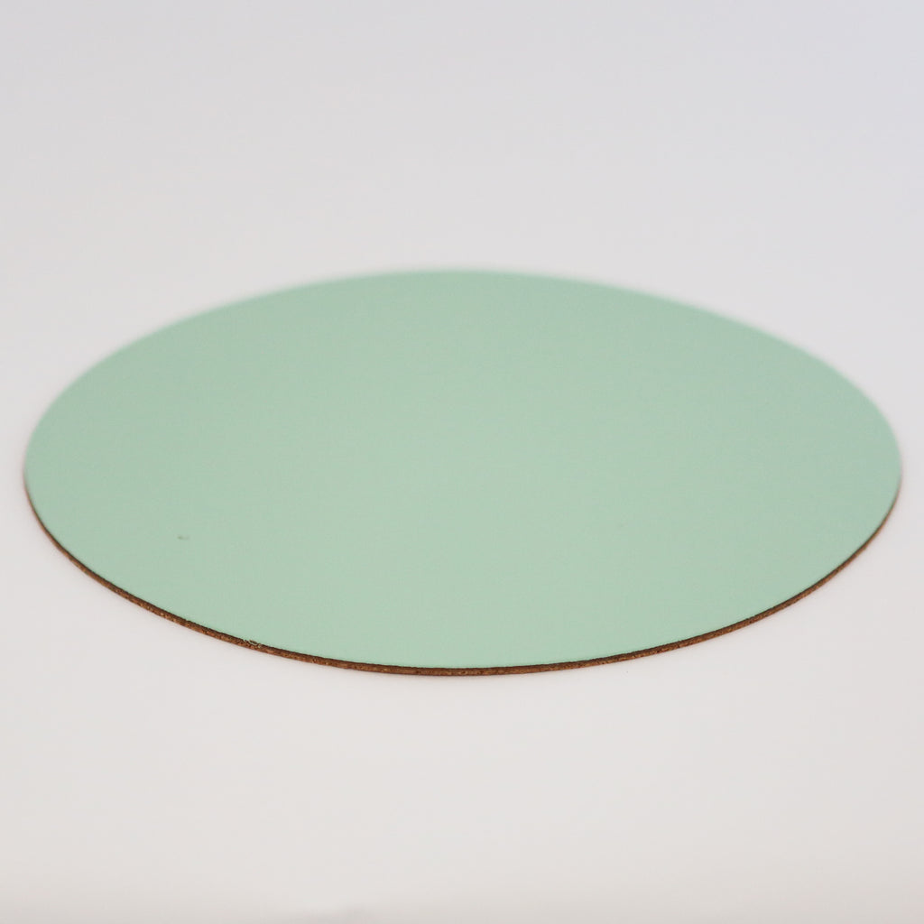 Round Leather Placemat - Peppermint