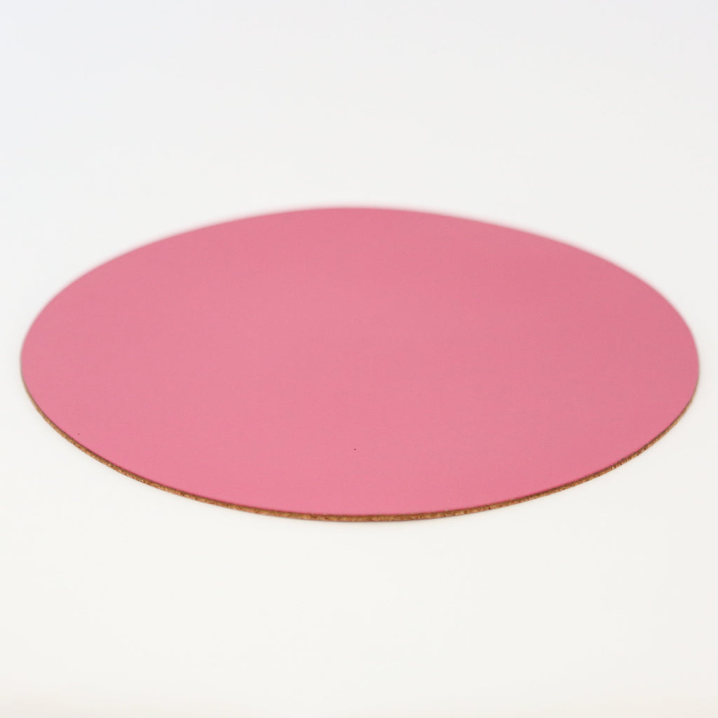 Round Leather Placemat - Sugar Pink