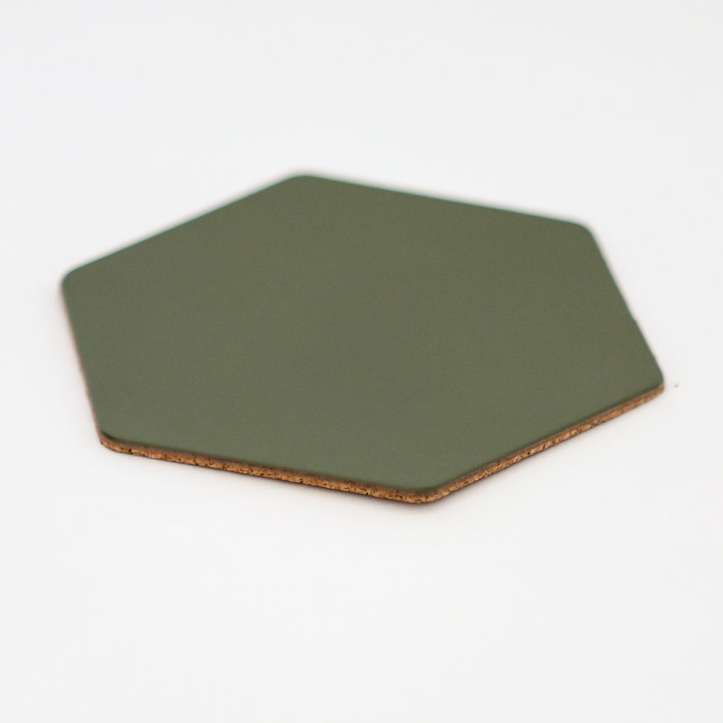 Leather Hexagon Coaster - Dark Olive Green