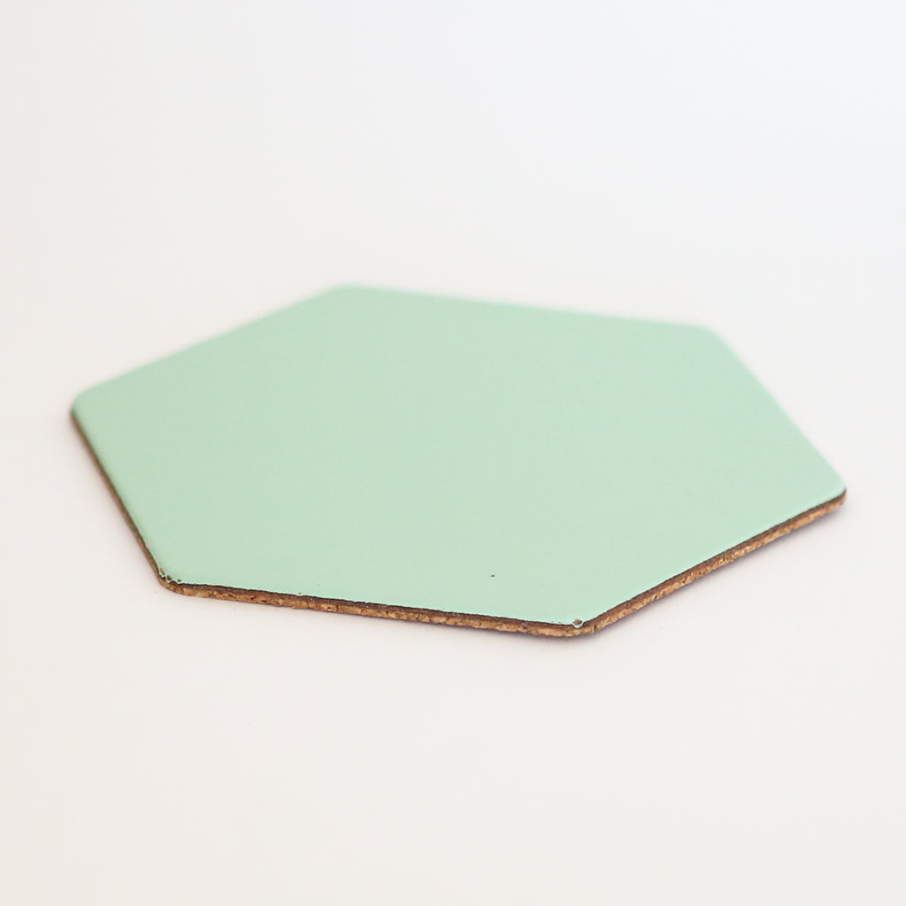 Leather Hexagon Coaster - Peppermint