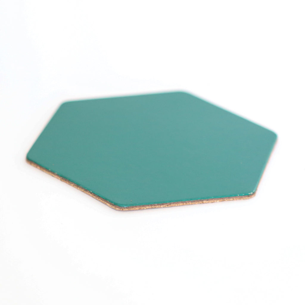 Leather Hexagon Coaster - Forest Green