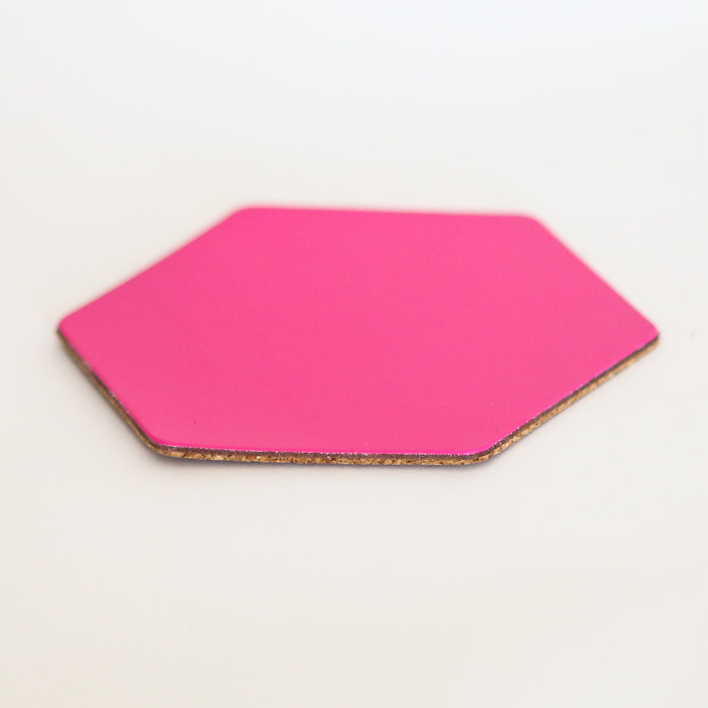 Leather Hexagon Coaster - Bright Pink