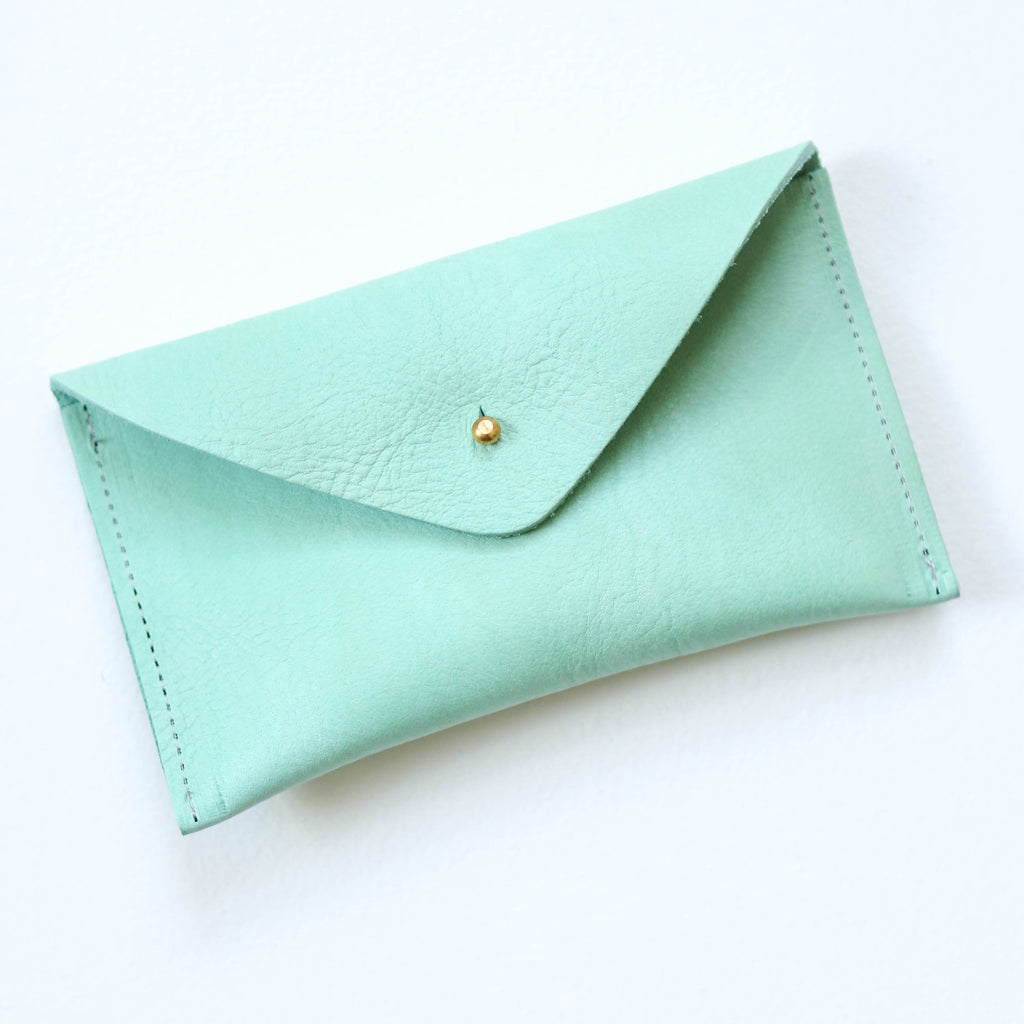Simple Leather Purse - Mint Green