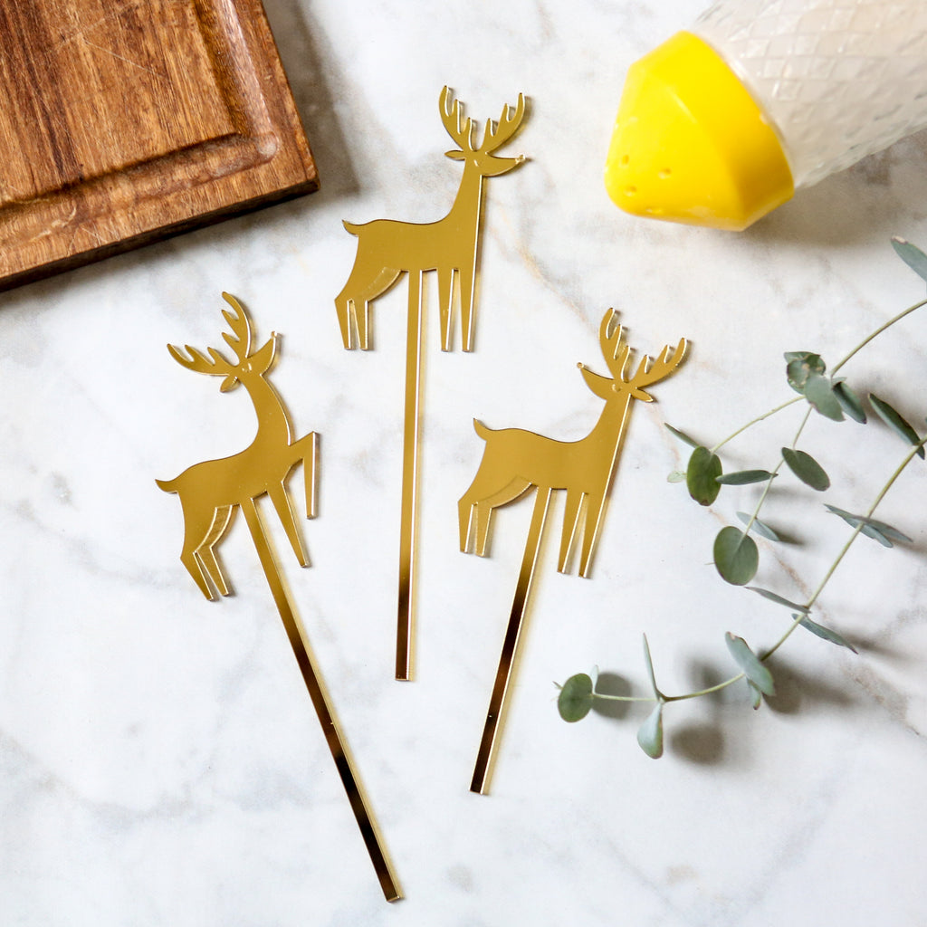 Gold Acrylic Reindeer Cake Toppers