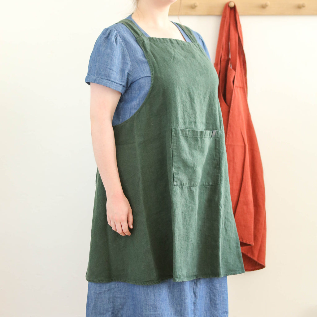 Washed Linen Japanese Style Apron - Forest Green