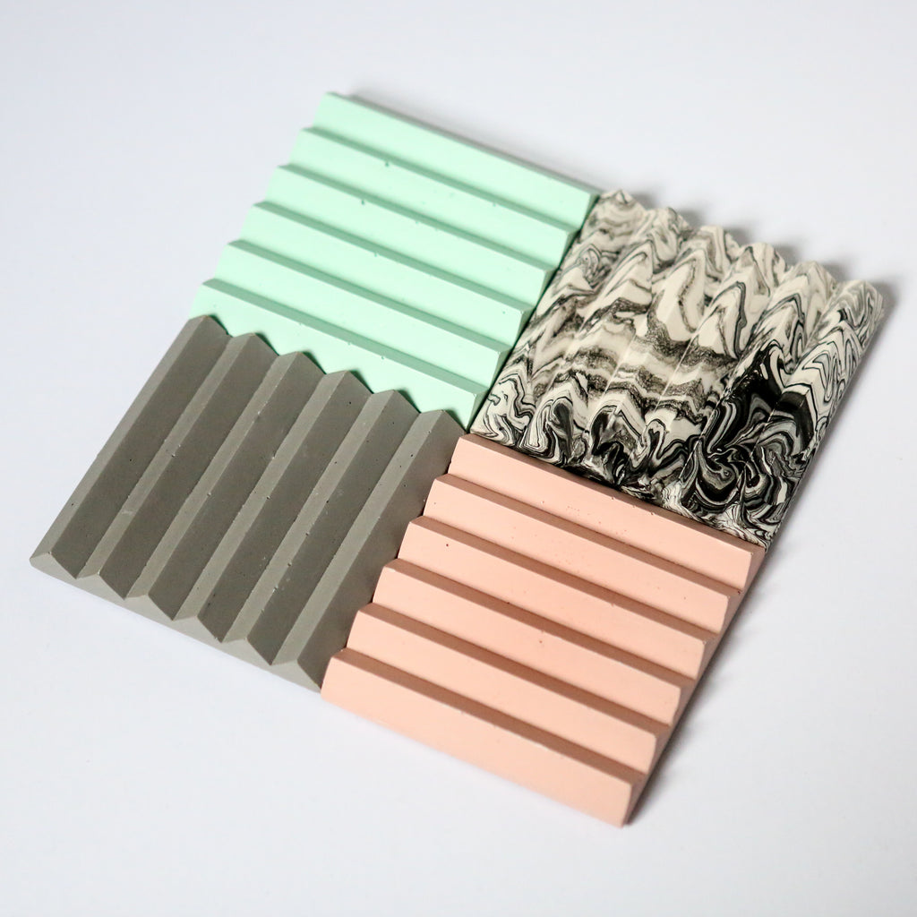 Zig Zag Coaster or Pen Holder in Pastel Pink