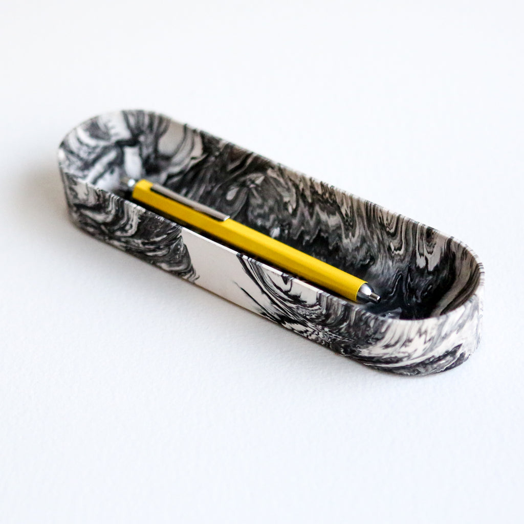 Jesmonite Pen Tray in Grey Marble