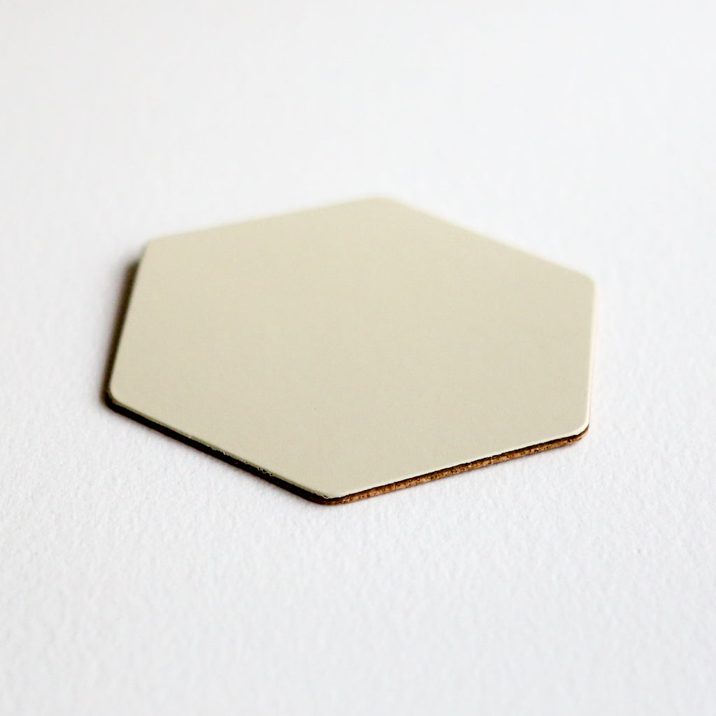 Leather Hexagon Coaster - Ivory
