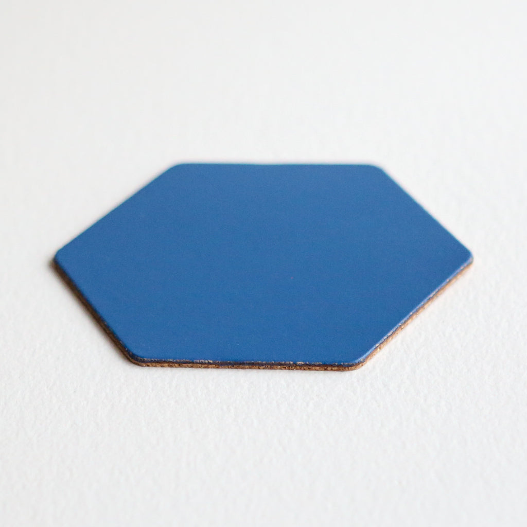 Leather Hexagon Coaster - Royal Blue