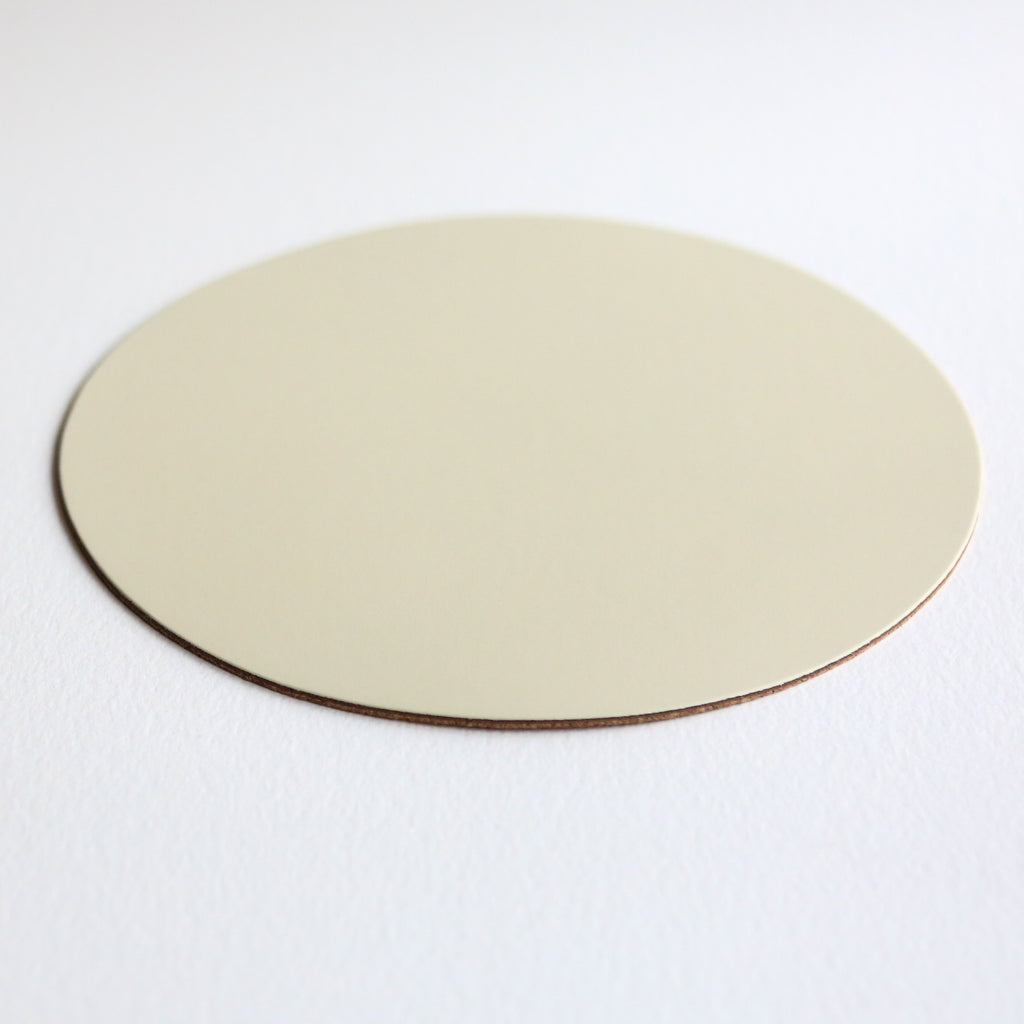 Round Leather Placemat - Ivory